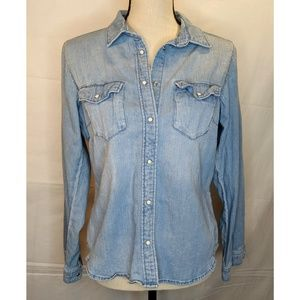 H&M Denim Western Pearlsnap Blue Denim Shirt Sz S